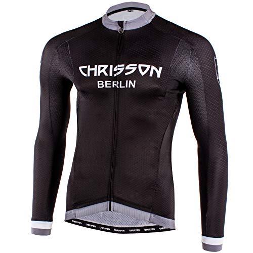 CHRISSON Urban Grau L Fahrradtrikot Langarm für Herren, Atmungsaktive und Schnelltrocknende Fahrradbekleidung, Radtrikot mit Reißverschluss, Fahrrad Trikot für Männer mit 3 großen Rückentaschen