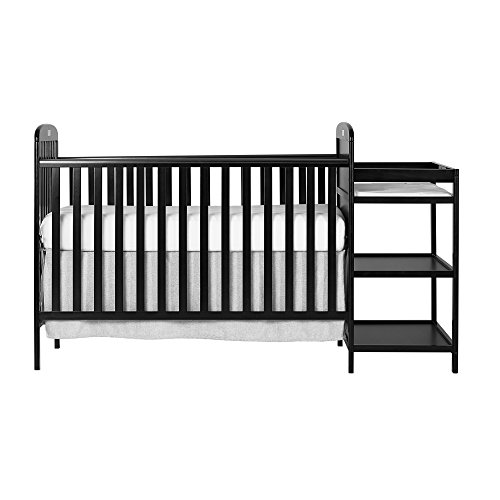 Dream On Me, Anna 4-in-1 Full Size Crib and Changing Table Combo, Black