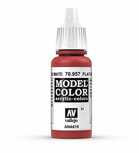 VALLEJO Model Color Pintura Acrílica, Rojo (Flat Red), 17 ml