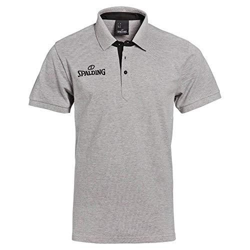 Spalding Prime Polo para Hombre, Gris Melange, 3XL