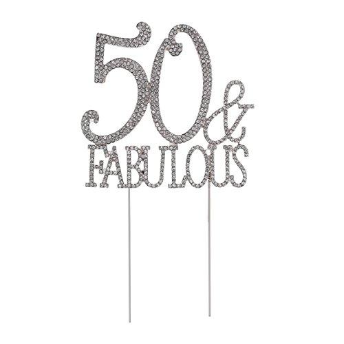 STOBOK Kuchen Topper Strass 50 Fabulous Kuchendeckel Kuchendekoration Jahrestag Geburtstag Party Zubehör (Silber)