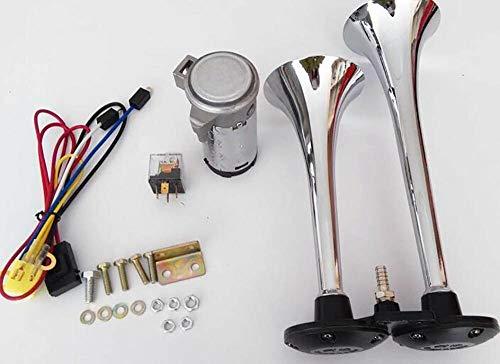 LALAWO Laute Lautstärke, Universal Single Tube Air Horn 24 V 150 DB Super Laute Kompressor Air Horn for Auto LKW Boot Motorrad Trompete Kit Relais Gute Klangqualität