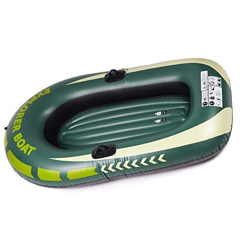 Liadance Barco Balsa, Botes inflables Remo para Adultos de Goma sórdido Bat-Inflable Pesca en Kayak Canoa, Espesado Pesca Resistente al desgarro Plegable Barco Deriva Doble Verde