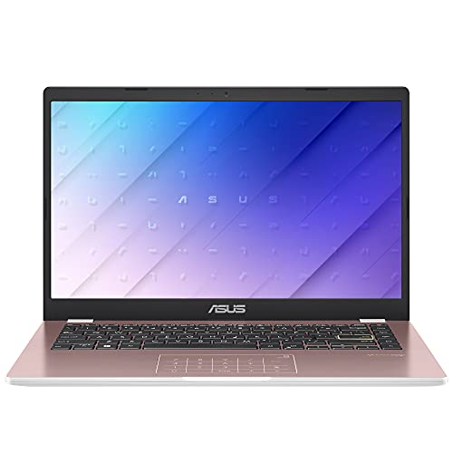 "ASUS E410 14"" Laptop Computer, Intel Celeron N4020 up to 2.8GHz, 4GB DDR4 RAM, 128GB eMMC, 802.11AC WiFi, Bluetooth, HDMI, Webcam, Remote Work, Pink, Windows 10 S, iPuzzle 128GB SD Card"