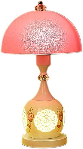 Lámpara de mesa, lámpara de noche de dormitorio, moda moderna estilo europeo europeo creativo, lámpara de mesa de cristal cálida y romántica, interruptor de botón LJMYQL (Color : A1)