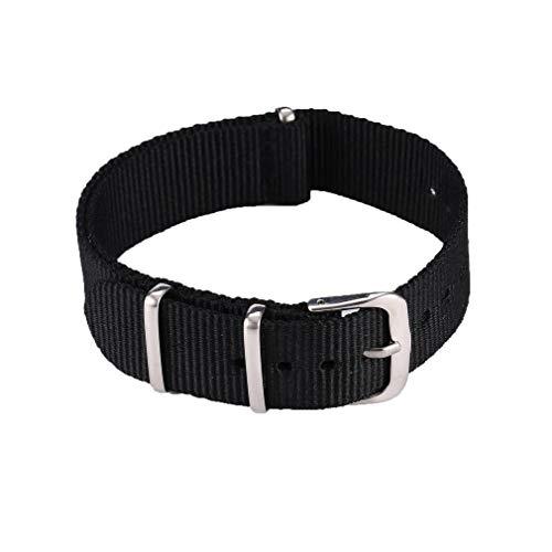 HermosaUKnight Banda de Reloj de Moda Banda de Reloj de Correa de Nylon Impermeable (black18mm)