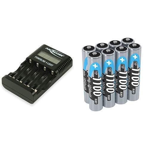 ANSMANN Powerline 4 Light Ladegerät Akku / Leichte & kompakte 4-fach Ladestation & cro AAA Akku 1.2V Typ 1100mAh - NiMH Akku Batterien AAA für Geräte mit hohem Stromverbrauch - 8 Stück