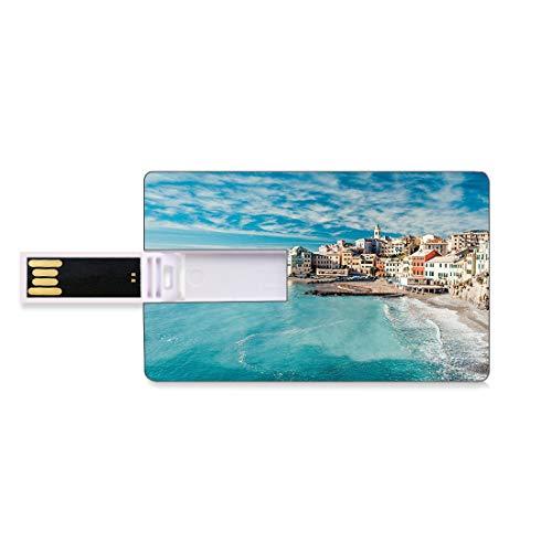 64 GB Chiavette USB Flash Azienda agricola Archiviazione su Memory Stick del disco U della chiave di affari della forma della carta di credito Panorama del vecchio villaggio di pesci italiani Beach Ol
