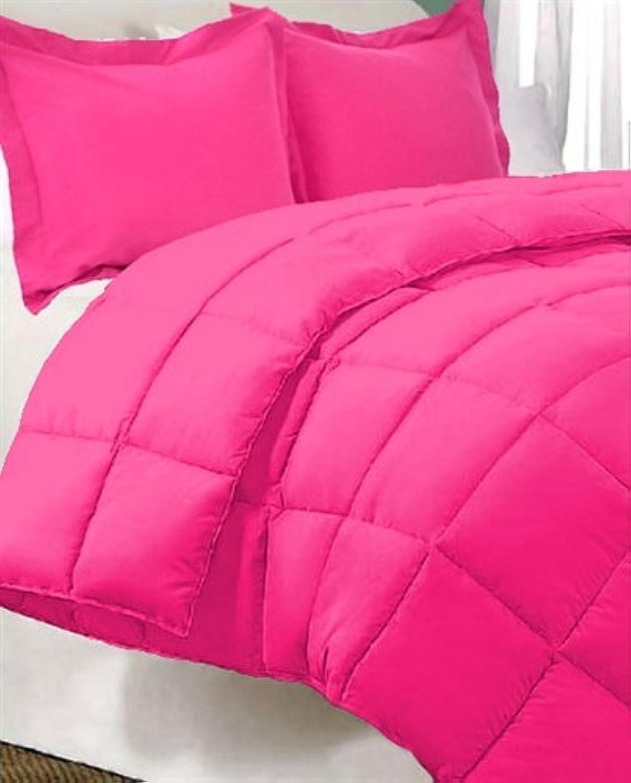 Dreamz Parure de lit Super Doux 600Fils 100% Coton 1Housse de Couette (100g m2 Fibre Fill) UK Double, Rose Vif Solide Coton égypcravaten 600tc Doudou