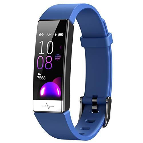 LXF JIAJU Pulsera Inteligente Monitor De Ritmo Cardíaco Sangre Presenta Whatsapp Recordatorio Impermeable IP68 SmartBand para iOS Android Blue