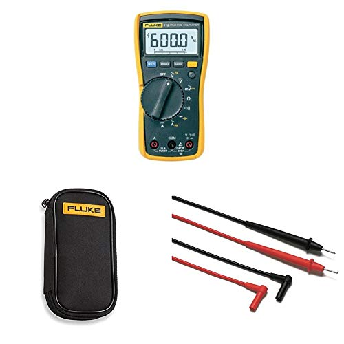 Fluke 115 Compact True-RMS Digital Multimeter with compact soft case C50 and Corporation FLUTL75 Hard Point Test Lead Set
