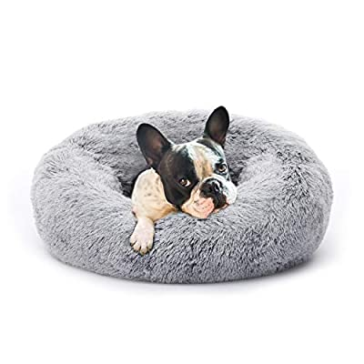 Eterish Fluffy Round Calming Dog Bed, Small Anxiety Donut Dog Bed for Small Dogs, Pet Cat Bed with Raised Rim, Machine Washable, 23 inches Light Grey