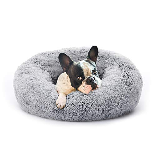 Eterish 23 inches Fluffy Round Calming Dog Bed Plush Faux Fur, Anxiety Donut Dog Bed for Small Dogs and Cats, Pet Cat Bed with Raised Rim, Machine Washable, Light Grey
