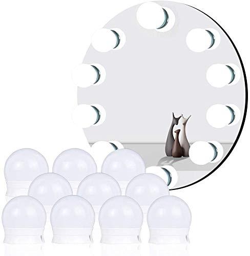 Luci da Specchio, Luci LED Stile Hollywood per Trucco Lampadine Regolabili 10 Pezzi da Bagno 3 Modalità Colore con Porta USB, Applica a Lampada Trucco, Specchio Cosmetico, Lampada Specchio Bagno