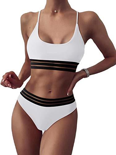 SOLY HUX Damen Bikini Set mit Mesh 2-Teile Bademode Badeanzug Strandmode Hohe Taille Bikinis Weiß S