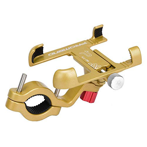 HIOD Soporte Giratorio para Teléfono Móvil con Bicicleta 360 Soporte de Bicicleta Ajustable de Aluminio Soporte Antideslizante para Teléfono MTB Soporte de Ciclismo,Gold