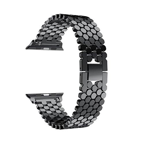 KanLin 1986 Nuovo Banda di orologio in acciaio inossidabile Cinghia di ricambio Per Apple Watch Series 3 38MM (nero)