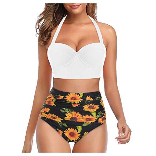 Bikinis Mujer 2020 Push Up Halter Bikini Traje de baño Acolchado Bra Tops y Braguitas Traje de Baño de Dos Piezas Talla Grande Bañador Vacaciones Ropa de Playa riou