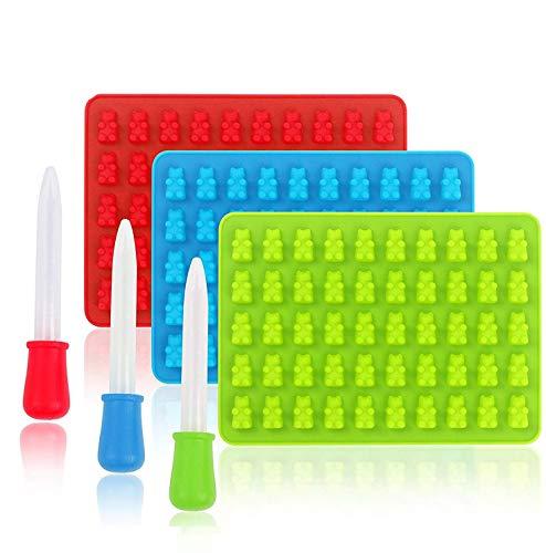 Silikon-Süßigkeits-Formen, Shineus 3 Satz-bunte gummiartige Bären-Form-Eiswürfel-Behälter mit 3 Tropfenzählern für DIY Süßigkeit, Gelee, Plätzchen, Schokolade, Bonbon und Eis