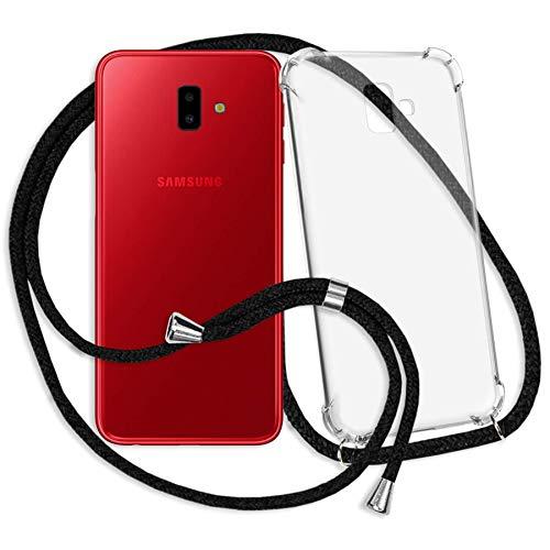 mtb more energy® Handykette kompatibel mit Samsung Galaxy J6 Plus, J6+ 2018 (SM-J610, 6.0'') - schwarz - Smartphone Hülle zum Umhängen - Anti Shock Strong TPU Case