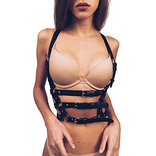 Homelex Women Punk leather Bra Harness Body Caged Cupless Strappy Lingerie
