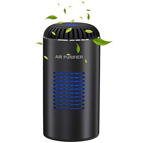 Kimfly mini Air Purifier mit HEPA-Kombifilter & Aktivkohlefilter | Luftreiniger mit UV-Sterilisation und Anion frisch,Autoluftreiniger mit 2 Stromversorgungsmodi