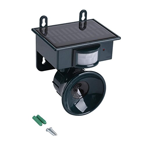 Ultrasone Repeller, Zonne-energie Pir Motion Sensor Ultrasone ongediertebestrijder Bird Fox Mouse Chaser, met instelbare ultrasone frequentie voor Rat, knaagdieren, spinnen, vogels, veilig voor mens e