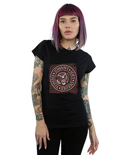 Absolute Cult Ramones Mujer Red Plaid Seal Camiseta Negro Small