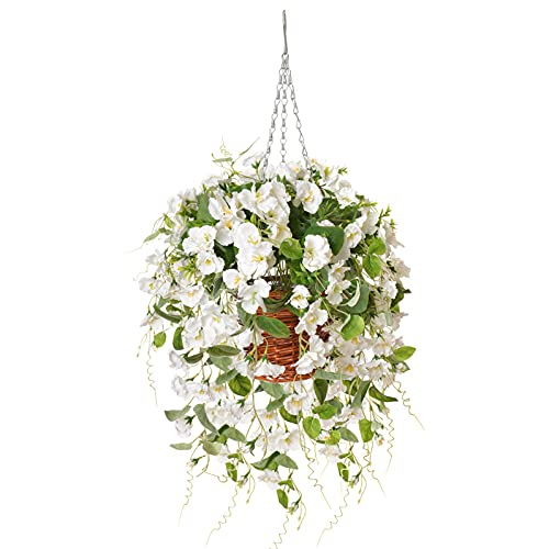 Artificial Flowers withHanging Baskets, Fake Silk Orchid Rose Flowers Plants in Baskets, Faux Flower Centerpieces for Home Decoration Outdoor Garden Yard Patio Landscaping (White)