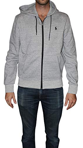 Polo Ralph Lauren Mens Double Knit Full-Zip Hoodie Sweatshirt, Grey Heather, Medium
