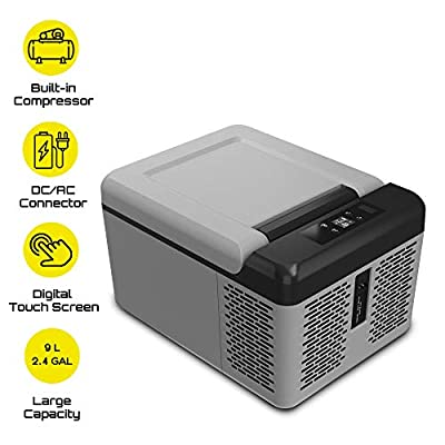 BornTech Electric Cooler Portable Refrigerator Freezer Compact Vehicle Car Fridge freezer Electric Cooler for Car, RV, Vehicle, Boat, Home Use, Travel, Camping Truck Party, Picnic Outdoor (9 Liter)