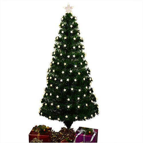 BAIVIT LED-Stern Glühender Weihnachtsbaum, PVC Flammhemmende Fiber Optic Baum, Indoor- und Outdoor-Weihnachtsdekoration Baum Tipps für Home Festival,120cm