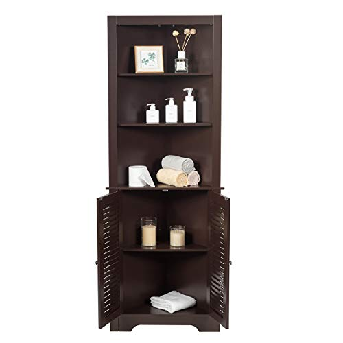 Tangkula Bathroom Corner Storage Cabinet Free Standing Tall Collection Cabinet With 3 Open Shelves Storage Organizer For Bathroom Bedroom Living Room Espresso Buy Online In Cayman Islands At Cayman Desertcart Com Productid 206029140