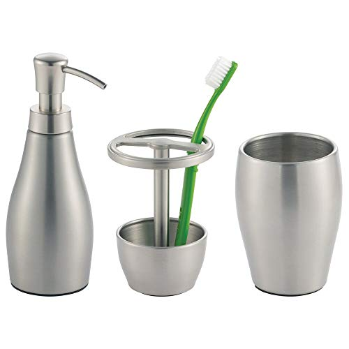 mDesign Metal Bathroom Vanity Countertop Accessory Set - Includes Refillable Soap Dispenser, Divided Toothbrush Stand, Tumbler Rinsing Cup - 3 Pieces - Brushed Stainless Steel