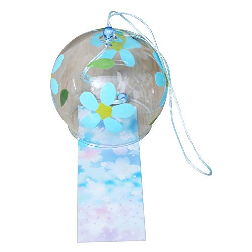 Japonais furine en verre fait main vent carillon anniversaire saint valentin mariage anniversaire cadeau Graduation de cuisine Home Spa Jardin fenêtre universitaire (Fleur)