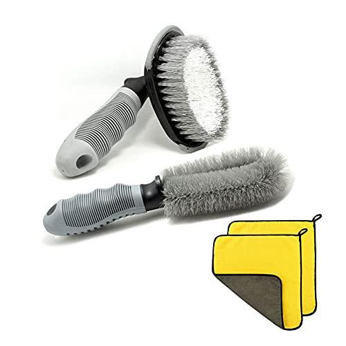 HOSPAOP Juego de limpieza de coche – Cepillo para llantas y 2 toallas de lavado de coche, cepillo para llantas de aluminio para coche y moto