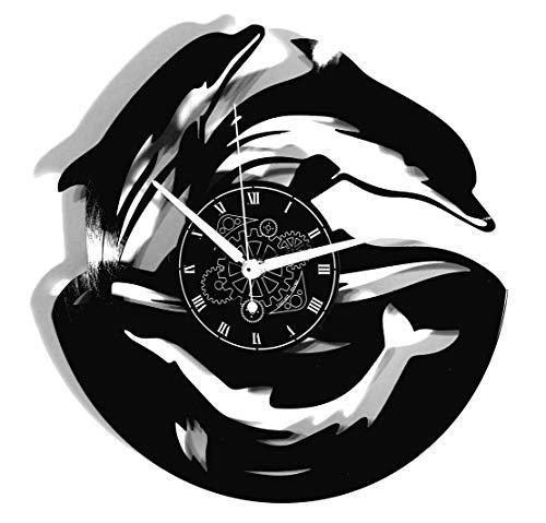 Instant Karma Clocks wandklok, vinyl, zeewater zwembad vissen dolfijn, vintage, handgemaakt