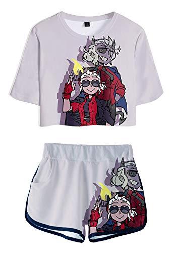 QYIFIRST Awesome Demon Jersey Exposed Nabel Camiseta Pantalones cortos Set de ropa deportiva animadora animadora Cosplay Disfraz Lila Mujer L