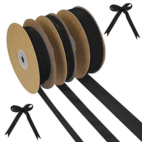 ruggito 3 Rolls Velvet Ribbon Wired, 46.7 Yard Fabric Ribbon Roll Wrapping Christmas DIY Crafts Bows Ribbon(black)