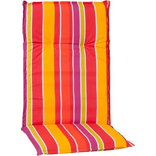 Beo Gartenstuhlauflage Sitzkissen Polster Stuhlkissen für Hochlehner Streifen hellgrün orange gelb violett