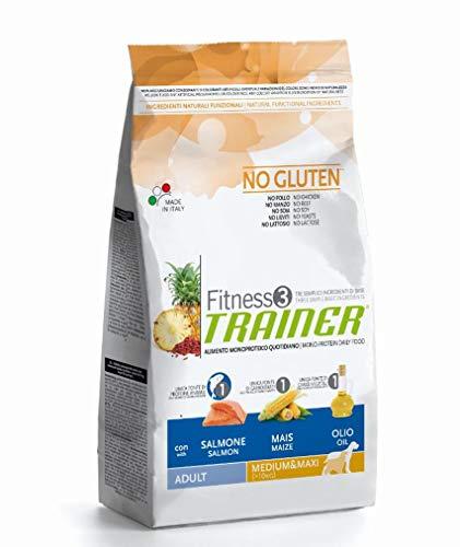 Trainer Fitness 3 No Gluten Medium&Maxi con Salmone Mais e Olio 3kg, Multicolore, Unica
