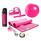 HONGBEI Yoga Set 11-Piece Yoga Mat with Carrying Strap,Yoga Blocks 2 Pack,Yoga Strap,Yoga Ball,Ankle Puller,Yoga Set,Yoga Mat Non Slip Yoga Kits and Sets for Beginners,Yoga Mat Sets for Women (Pink)