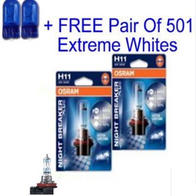 NEW Osram Night Breaker PLUS H11 +90% 12v 55w + Free 501 Extreme White Sidelights