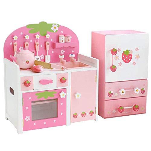 マザーガーデン 木のおままごと 木製 野いちご キッチン ピンク + プチ冷蔵庫セット〔つぶつぶ桃いちご グリルキッチン 小物11点+ チルド冷蔵庫 小物17点 完成品〕女の子 キッチンセット