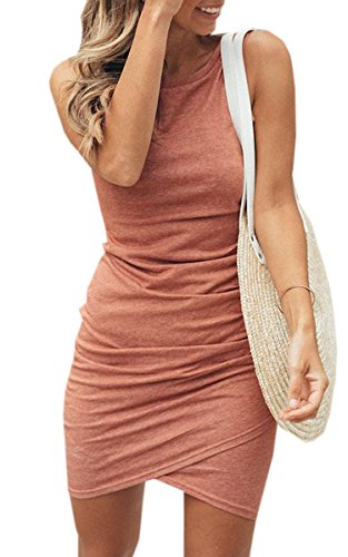 ECOWISH Women Dress Summer Casual Crew Neck Ruched Stretchy Bodycon T Shirt Short Mini Dress 106 Pink Small (Apparel)