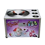 Kolice Commercial Countertop 45cm (18'') Single Round Fry Ice Pan Machine with 3 tanks, Fried Roll Ice Cream Maker Instant with Refrigerant, AUTO DEFROST and PCB of Smart AI temp. controller