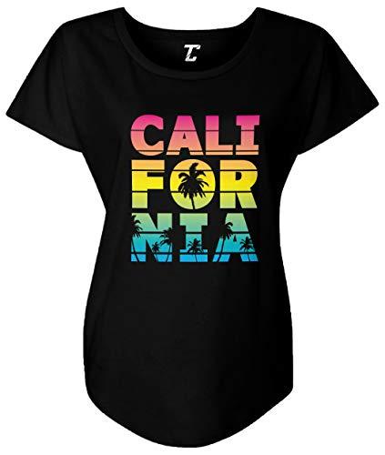 Tcombo California - Neon Palm Tree Cali Summer Women's Dolman (Black, XX-Large)