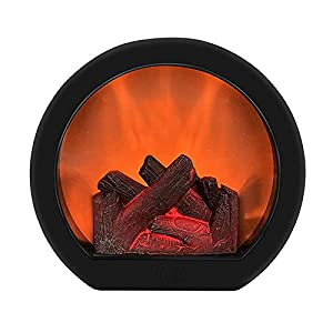 zhaghihuipt Fireplace Lantern Decoration flameless Portable Desktop Fireplace Light Round Fireplace Light Fireplace with Realistic Log fire Fireplace Battery Powered by Artificial Flame (2018.510cm) by zhaghihuipt