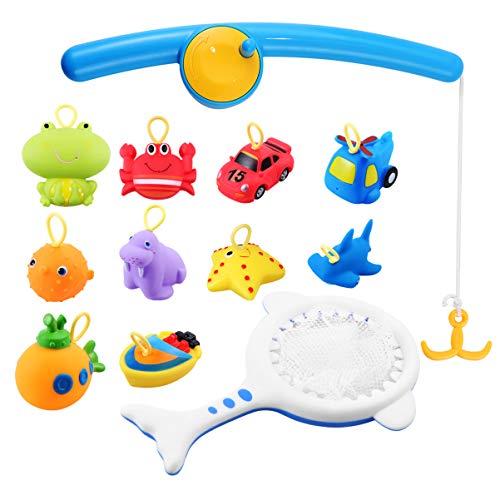 jojofuny 12Pcs Juguete de Agua de Baño para Niños Pequeños Divertido Juego de Pesca Al Aire Libre Juguetes para Bañera Flotante para Bebés Juguetes para Niños