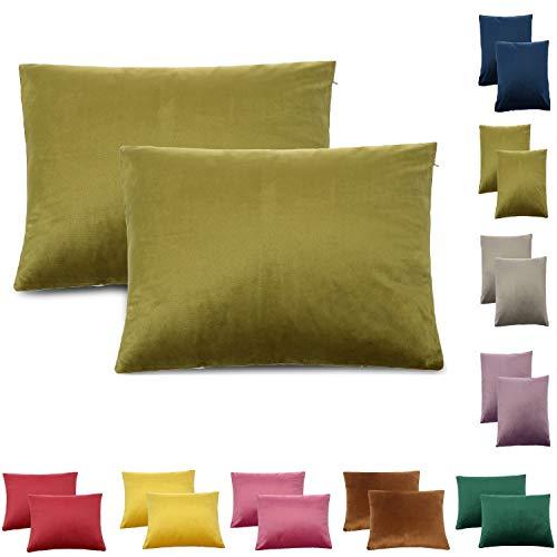 CALIYO Funda de cojín de terciopelo Uni funda de cojín 2 o 3 fundas de almohada para cojín decorativo cojín de sofá 45 x 45 cm muchos colores, Verde oliva., 30 x 50 cm
